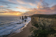 Spectacular view of the Twelve Apostles at sunset. Great Ocean Road, Victoria, Australia. A spectacular view of the Twelve Apostles at sunset. Great Ocean Road Stock Image