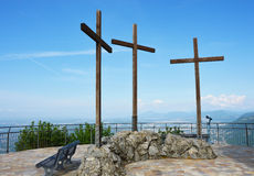 Spectacular viewpoint of Monte Tre Croci three crosses mount from the top of San Maurizio of Brunate, Como, Italy Royalty Free Stock Image