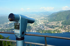 Spectacular viewpoint of Monte Tre Croci three crosses mount from the top of San Maurizio of Brunate, Como, Italy Royalty Free Stock Photo