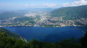 Spectacular viewpoint of Monte Tre Croci three crosses mount from the top of San Maurizio of Brunate, Como, Italy. Royalty Free Stock Images