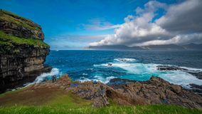 Spectacular viewpoint with tourists time lapse. Spectacular Time lapse of viewpoint to the ocean and islands with many tourists stock video footage