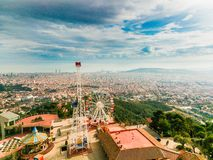 Spectacular views of Barcelona from Mount Tibidabo royalty free stock photography