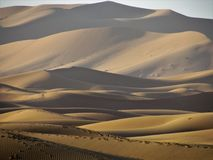 Spectacular views of high and astonishing Sand Dunes in Sahara Desert stock photo