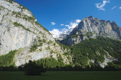 Spectacular views in the Lauterbrunnen Valley (Berner Oberland, Switzerland). Spectacular view, waterfalls and steep cliffs are found in the Lauterbrunnen Valley Royalty Free Stock Photography