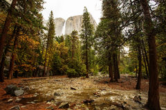 Spectacular views to the Yosemite waterfall. In Yosemite National Park, California, USA Royalty Free Stock Images