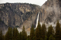 Spectacular views to the Yosemite waterfall. In Yosemite National Park, California, USA Royalty Free Stock Image