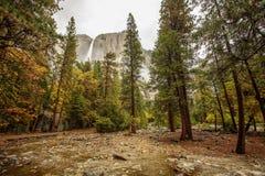 Spectacular views to the Yosemite waterfall in Yosemite National. Park, California, USA Royalty Free Stock Photos