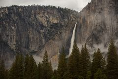 Spectacular views to the Yosemite waterfall in Yosemite National Royalty Free Stock Image