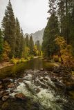 Spectacular views to the Yosemite waterfall in Yosemite National Royalty Free Stock Photography