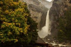 Spectacular views to the Yosemite waterfall in Yosemite National. Park, California, USA Stock Photos