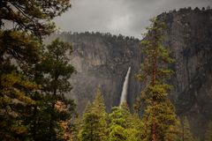 Spectacular views to the Yosemite waterfall in Yosemite National. Park, California, USA Stock Images