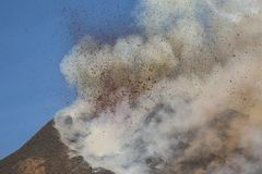 Spectacular Volcano Etna eruption ,Sicily , Italy Stock Images
