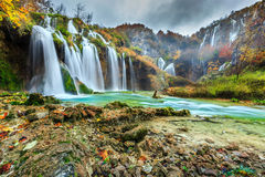 Spectacular waterfalls in forest Plitvice lakes, Croatia, Europe Royalty Free Stock Image