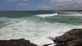 Spectacular waves off a Bonville headland in Norther NSW Australia stock video