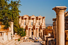 Spectacular, well restored, antique ruins at Ephes. Ancient, antique, columns and two story ruined palace at Ephesus, Turkey Royalty Free Stock Photos