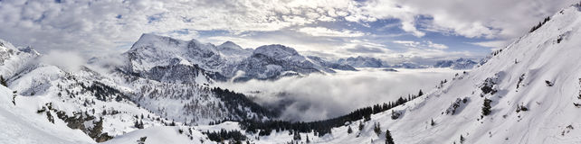 Spectacular winter mountain panorama Royalty Free Stock Photos