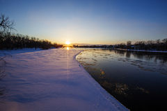 Spectacular winter sunset Stock Photo