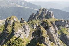 Spectacular 'finger' rocks covered in green vegetation Royalty Free Stock Image