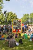 Spectaors bij Grand vertrekt van Ronde van Frankrijk 2015 in Utrecht Stock Foto