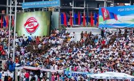 Spectateurs à la cérémonie d'ouverture de Nadaam Image stock