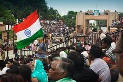Cérémonie de frontière du l'Inde-Pakistan Images libres de droits