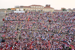 Spectateurs sur un concert dans l'arène de Vérone photos stock