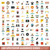 100 spectator audience icons set, flat style Stock Images