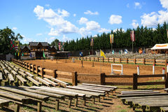 Spectator Benches Jousting Arena Maryland. Empty spectator benches at the jousting arena of the Maryland Renaissance Festival in Annapolis Royalty Free Stock Photography