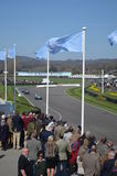 Spectator's watch the race action at Goodwood. Royalty Free Stock Photo