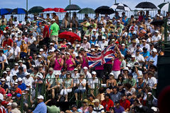Spectators Pack the Pavilion - 18th Green. Crowds pack the grandstands on the 18th Stock Photo
