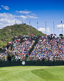 Spectators on the 18th. Crowds pack the grandstands on the 18th Stock Images