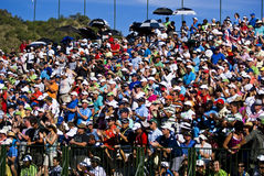 Spectators on the 18th. Crowds pack the grandstands on the 18th Royalty Free Stock Image