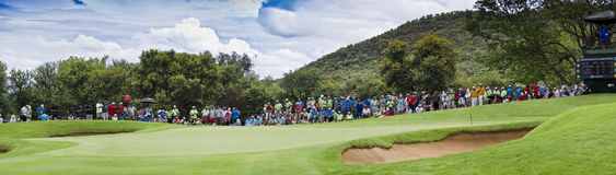 Spectators on the 8th Green - Panoramic. Panoramic view of the 8th green. Surrounded by hundreds of eager fans Stock Photography