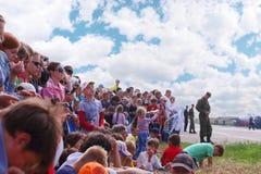 Spectators on airshow stock photo