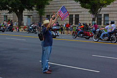 Spectators at annual motobike rally attracts in US capital. Royalty Free Stock Images