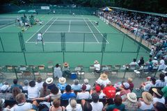 Spectators at the Annual Ojai Amateur Tennis Tournament, Ojai, California Stock Image