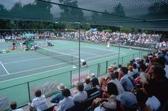 Spectators at the Annual Ojai Amateur Tennis Tournament, Ojai, California Stock Photo