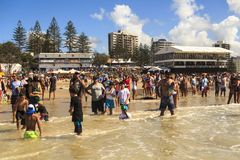 Spectators on the beach waiting to start the  Quicksilver & Roxy Pro World Title Even Stock Photos