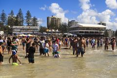 Spectators on the beach waiting to start the  Quicksilver & Roxy Pro World Title Even Royalty Free Stock Image