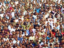 spectators at border closing ceremony between Pakistan and India, Wagha border stock image