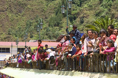 Spectators at the Carnival Parade in Banos, Ecuador Stock Images