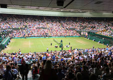 Spectators at Centre Court at Wimbledon stock image