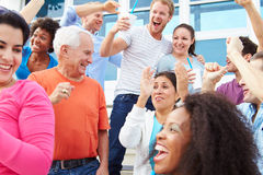Spectators Cheering At Outdoor Sports Event Stock Images