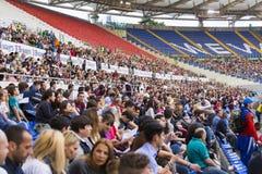 Spectatora in Stadio Olimpico at Diamond League. Spectators at Diamond League on Stadio Olimpico  Olympic stadium  in Rome, Italy in 2016 Royalty Free Stock Photo