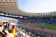 Stadio Olimpico. Spectators at Diamond League on Stadio Olimpico  Olympic stadium  in Rome, Italy in 2016 Royalty Free Stock Photo