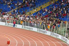 Stadio Olimpico. Spectators at Diamond League on Stadio Olimpico  Olympic stadium  in Rome, Italy in 2016 Royalty Free Stock Image