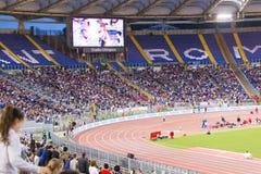 Stadio Olimpico at Diamond League. Spectators at Diamond League on Stadio Olimpico  Olympic stadium  in Rome, Italy in 2016 Royalty Free Stock Photo
