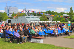 Spectators on the embankment of Peter the Great Royalty Free Stock Photos