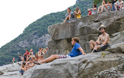 Spectators enjoy Cliff diving Championship Royalty Free Stock Photo