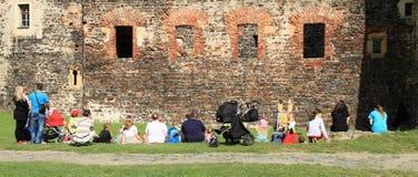 Spectators Fairytale Quasimodo. Spectators watching fairytale of actor Petr Lnenicka (Incognito) Quasimodo - puppet show on castle Svihov (Czech Republic, the Stock Images